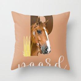 Paard - dierenalfabet Throw Pillow