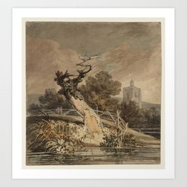 Joseph Mallord William Turner A Blasted Tree and a Fence beside Water, with a Church Tower beyond Tr Art Print
