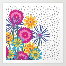 BOUQUET BOUNTY Fuchsia Art Print