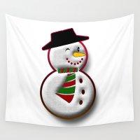 snowman Wall Tapestries featuring Snowman by Gaspar Avila