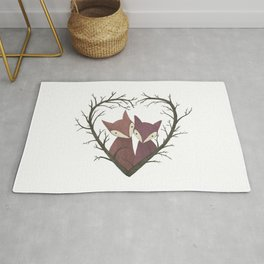 Cute fox love Rug