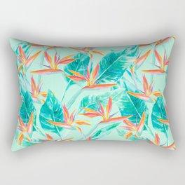 Birds Of Paradise Mint Rectangular Pillow