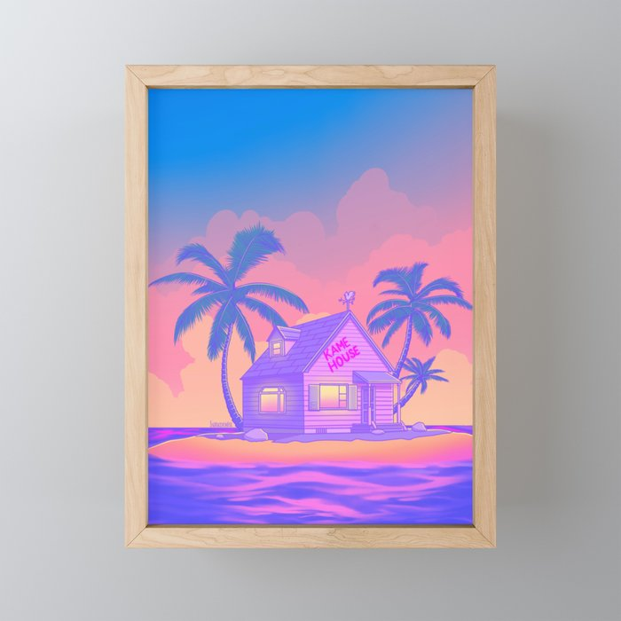 80s Kame House Framed Mini Art Print