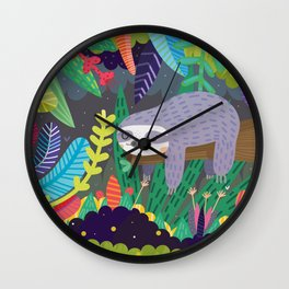 Sloth in nature Wall Clock