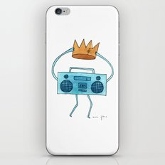 boombox holding a paper crown iPhone & iPod Skin