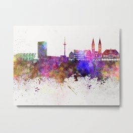 Bremen skyline in watercolor background Metal Print