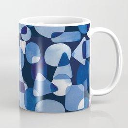 Blue Watercolour Geometric on Dark Blue Background Coffee Mug
