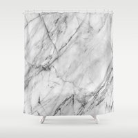 nike Shower Curtains featuring Marble by Patterns and Textures