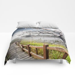 Japanese Cherry Landscape Comforters