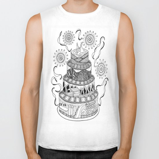 Country Wedding Cake Zentangle Style Biker Tank