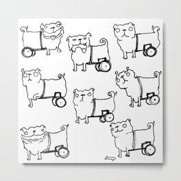 Wheelchair Dog Emotions Metal Print