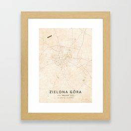 Zielona Gora, Poland - Vintage Map Framed Art Print