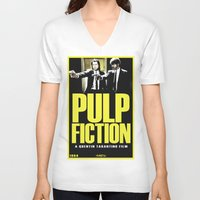 pulp V-neck T-shirts featuring PULP FICTION by Rikartdo
