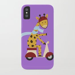 Giraffe on Motor Scooter iPhone Case