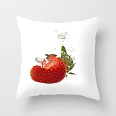 Strawberry splash Throw Pillow