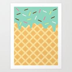 Mint Ice Cream with Sprinkles Art Print
