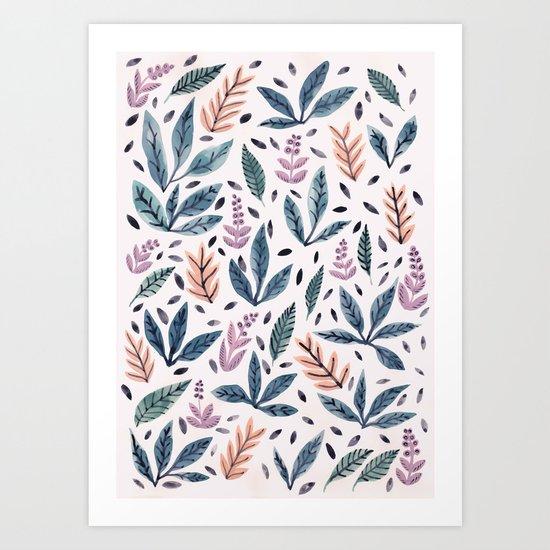 Painted Leaves Art Print
