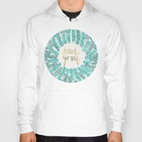 turquoise Hoodies featuring Treat Yo Self – Gold & Turquoise by Cat Coquillette