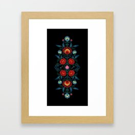 Flowers in Red and Blue Framed Art Print
