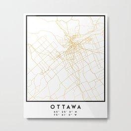 OTTAWA CANADA CITY STREET MAP ART Metal Print