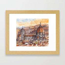 Florence ink & watercolor illustration Framed Art Print