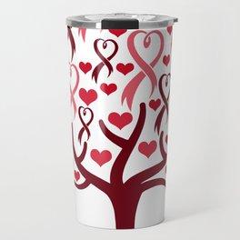 Blossoming Awareness Ribbon Heart Tree Travel Mug