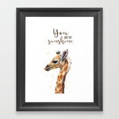You Are My Sunshine Giraffe Nursery Animals Watercolor Art Framed Art Print