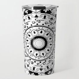 patience black mandala on white Travel Mug