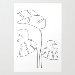 Monstera plant leafs line art Art black and white Art Print