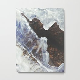 Patterned River Ice Metal Print