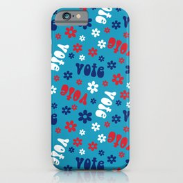 Groovy vote pattern - retro florals election pattern iPhone Case