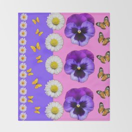 PINK-LILAC & PURPLE PANSY DAISY SPRING FLOWERS Throw Blanket