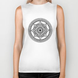 Abstract Mandala black Biker Tank