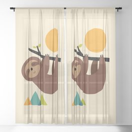 Keep Calm And Live Slow Sheer Curtain