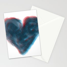 Red and Blue Heart Stationery Cards