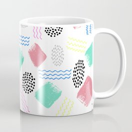 Geometrical pink teal black Memphis 80's pattern Coffee Mug
