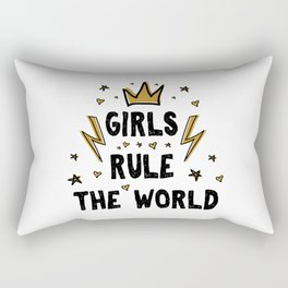 Girls rule the world - funny feminism humor sayings typography illustration with thunder and star Rectangular Pillow