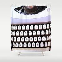 typewriter Shower Curtains featuring Typewriter by MiaKat