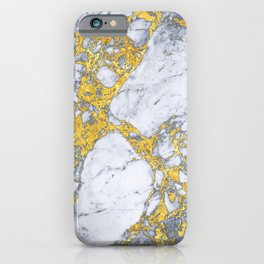 white - blue marble design with gold overlays iPhone Case