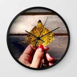 Henna Inspired Hand Painted Leaf Wall Clock