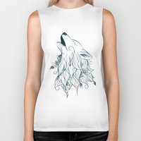 wolf Biker Tanks featuring Wolf by LouJah
