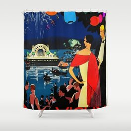 Gorgeous 1926 Vichy French comite des fetes Vintage Lithograph Advertising Wall Art Style 2. Shower Curtain