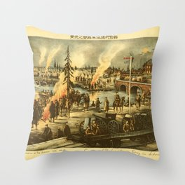 Vintage Print - Illustrations of the Siberian War (1919) - Expeditionary Army Camp in Siberia Throw Pillow