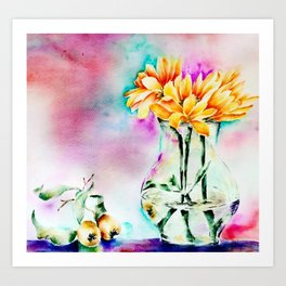 Still Nature with flowers and fruits Art Print