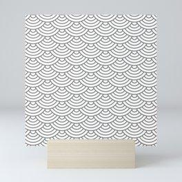 Grey Japanese wave pattern Mini Art Print
