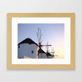 Famous Mykonos Windmills in Greece Framed Art Print
