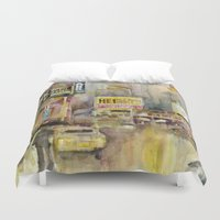 broadway Duvet Covers featuring Broadway,  New York by Dorrie Rifkin Watercolors