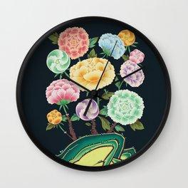 Minhwa: Peony Flowers and Rock Type B (Korean traditional/folk art) Wall Clock