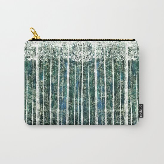 Hand Painted Green Christmas Jungle Carry-All Pouch