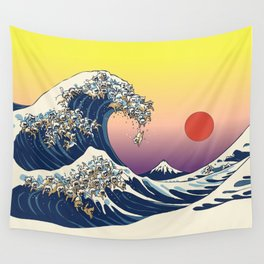 The Great Wave Of  Cat Wall Tapestry